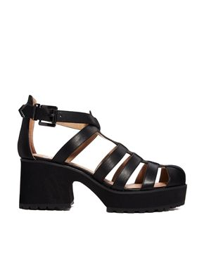 Shellys London Kaplow Black Leather Gladiator Heeled ...