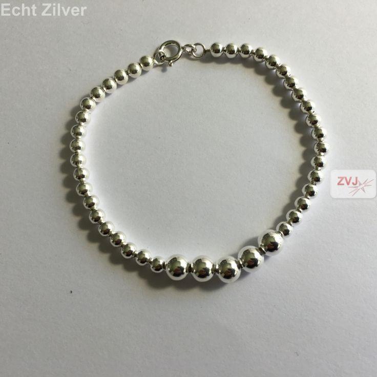 Zilveren wisselende 4 en 6 mm balletjes armband - ZilverVoorJou Echt 925 zilveren sieraden
