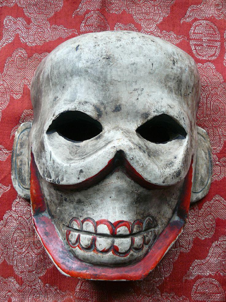 MASKS OF TEBET   TIBETAN WOODEN SKULL CHITIPATI DANCERS MASK (Item No. Mask 01)