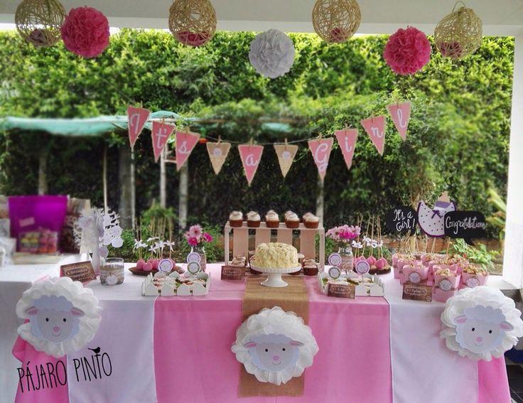 Mesa de dulces para baby shower con tem tica r stica y de for Decoracion mesa rustica