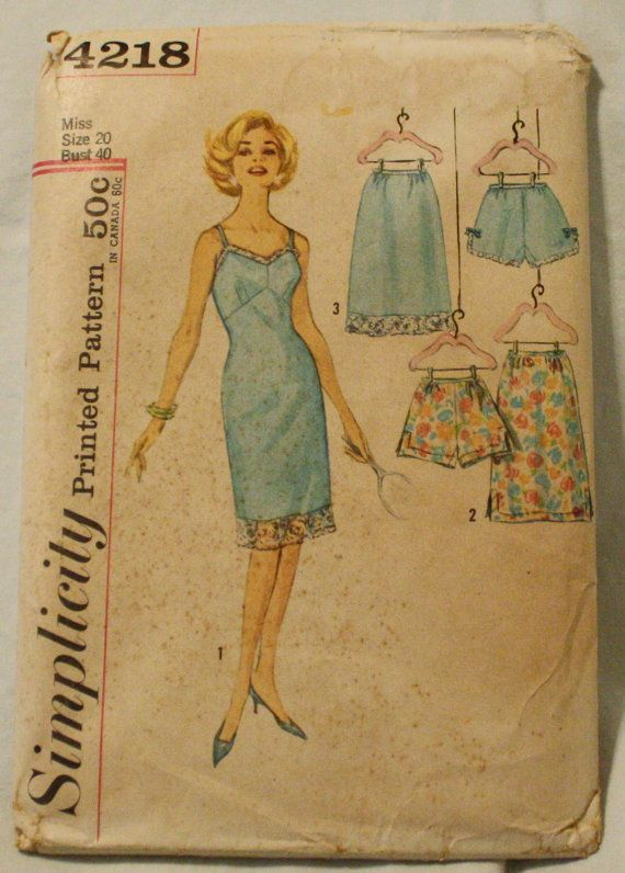 Simplicity 4218 Vintage 1950s Lingerie French by EleanorMeriwether, $12.00