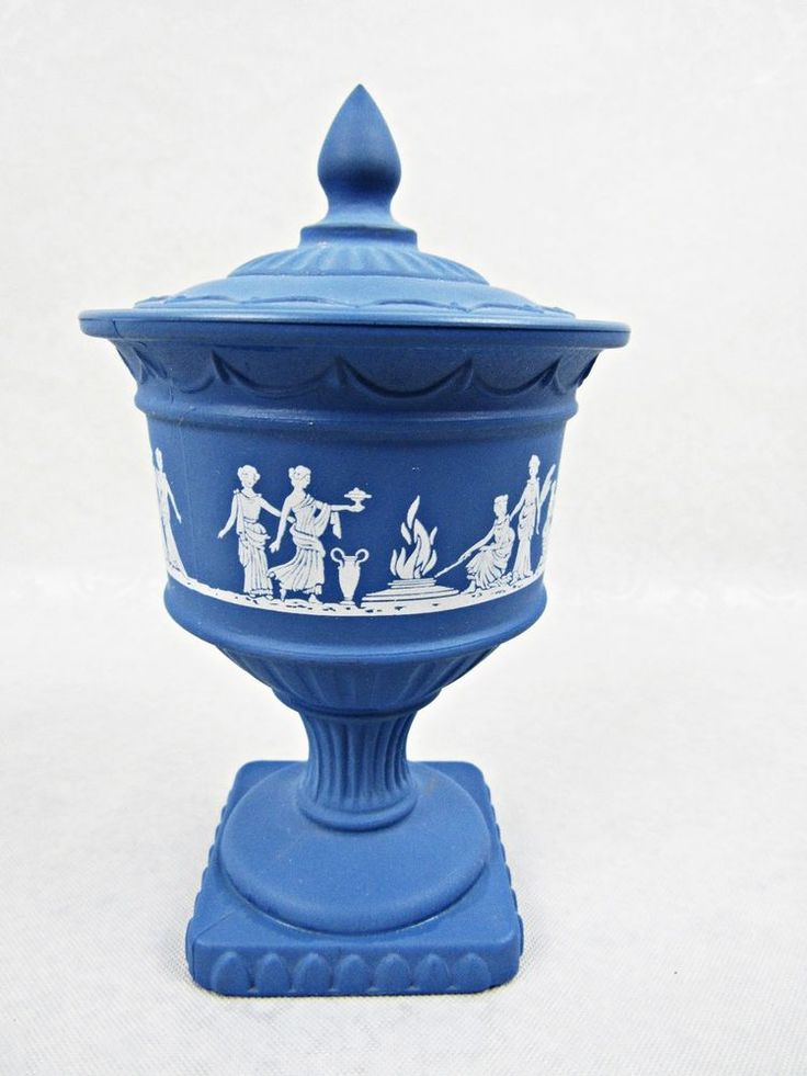 Avon Blue Grecian Perfumed Candle or Jewelry Holder Glass ...