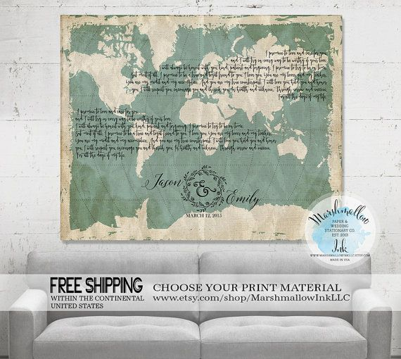 Anniversary Gift Wedding Canvas Map Vows Framed Engagement Lyrics Print Housewarming Ideas