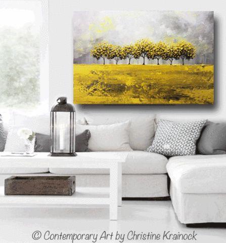 GICLEE PRINT Art Abstract Yellow Grey Painting Tree Landscape Canvas Prints Nature Rain Gold - Christine Krainock Art - Contemporary Art by Christine - 2