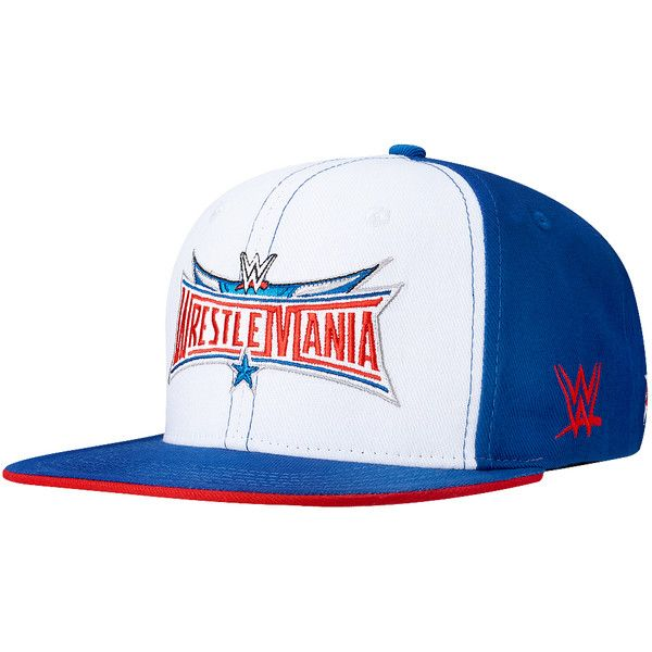 WrestleMania 32 White Snapback Hat ❤ liked on Polyvore featuring accessories, hats, white snapback, white snapback hats, white hat, snap back hats and snapback hats