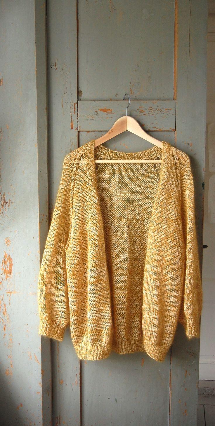 Oversized raglan mohair/cotton cardigan. Knit on large needles top-down with YO-raglan increases.