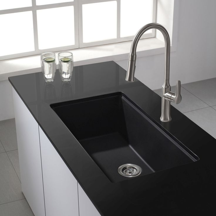 Kraus KGU-413B Universal Kraus 31 inch Undermount Single Bowl Black Onyx Granite Kitchen Sink Black Onyx - eFaucets.com