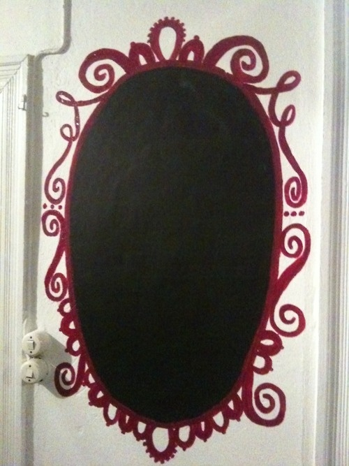 chalkboard oval with painted frame