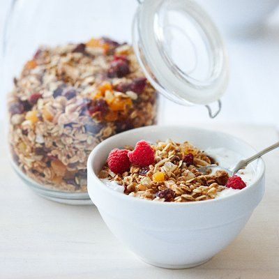 Maple and candied-ginger homemade granola recipe - Chatelaine.com ** leave out the wheat bran and use GF oats to make it gluten-free **