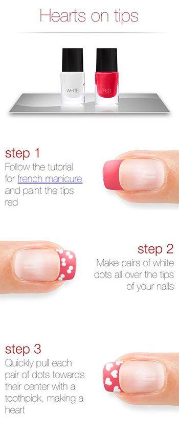 Un diseño de uñas para San Valentín muy fácil  de hacer. Sigue el paso a paso #DIY #NailArt #Valentines