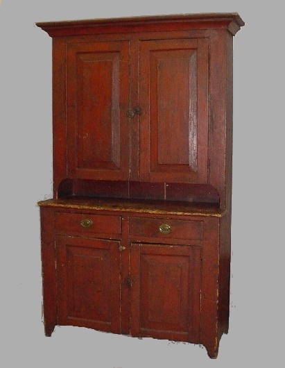 ONE-PIECE STEPBACK WALL CUPBOARD IN OLD RED PAINT....~♥~