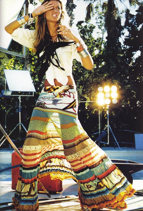 Bohemian tiered maxi skirt, fresh white shirt & stacked sterling. Eclectic boho glam