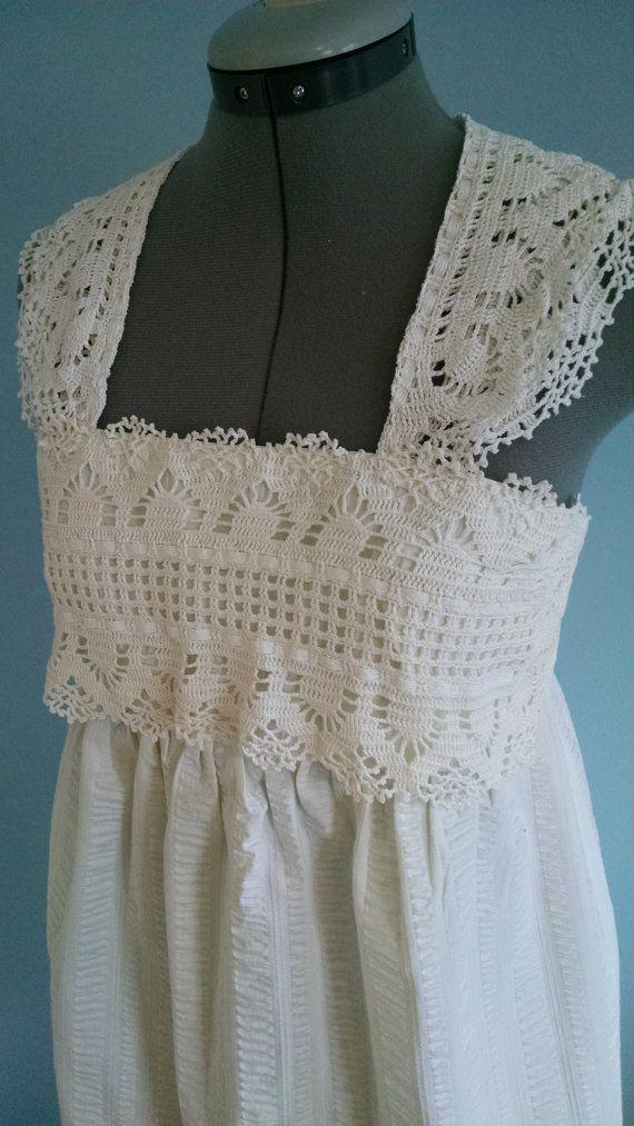 White Crochet & Seersucker Woman's Babydoll Dress by BohoBabydoll on Etsy.com $78.00