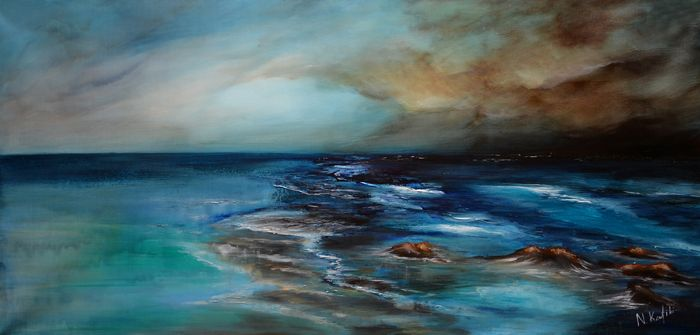 """Contemporary Abstract Painting - Wild Sea  """"Wild Sea"""" is an abstract acrylic painting  These rough waters truly challenge you to engage the adventure and take the voyage in this abstract seascape.    The size of artwork is:  100 X 50 X 3 cm 