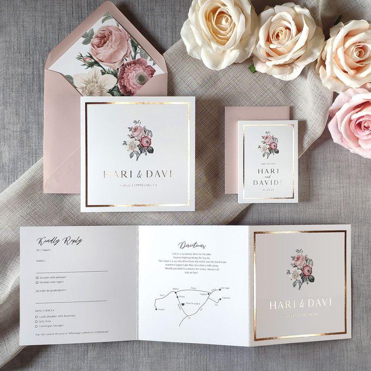 Bouquet Foil Wedding Invitation & Save the date. Wedding