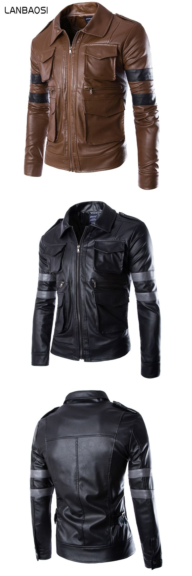 Top Selling Cool Striped Men's Multi Pockets Leather Jacket Jaqueta Couro Masculina Turn-down Collar Male Casual Slim Coats