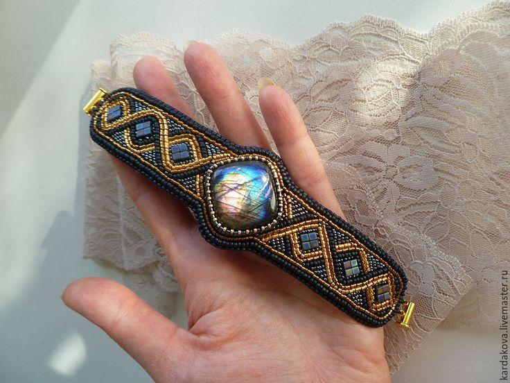 Купить Браслет с лабрадоритом - темно-синий, Браслет ручной работы, браслет из бисера, Вышивка бисером