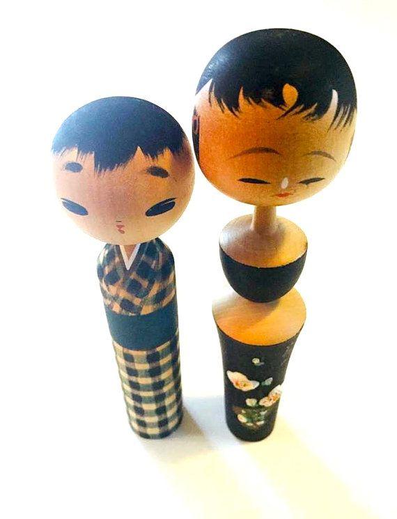 Vintage Kokeshi Couple Set Kokeshi Dolls Kokeshi by HippyHappyShop