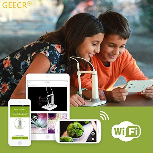Microscope GEECR Wireless Digital Electron Wifi Microscope for Mobile (iOS & Android) and PC with Zoom 150x Rechargeable Waterproofing IP67 and High-definition for Kids Home&School Education  1.Welcome to GEECR's microworld, let's show our children how to discover the new world under the GEECR Wi-Fi Microscope. Of course, you can use it to check your Precision Machinery or PCB, observe the historical relic, jewels, insect, and even if the engine interior.2.The Electron Microscope wo..