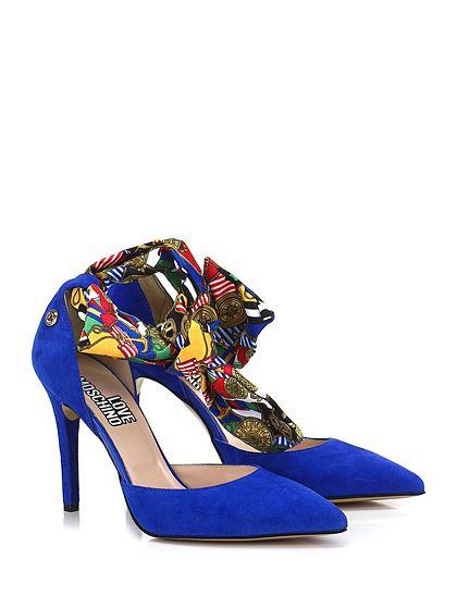 LOVE MOSCHINO - Scarpa con tacco - Donna - Scarpa con tacco in camoscio con fascia alla caviglia e suola in gomma. Tacco 100. - BLUE - € 198.00
