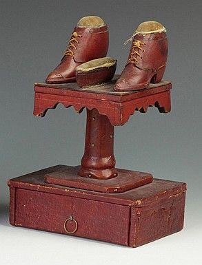 Antique Leather & Wood Folk Art Sewing Caddy.