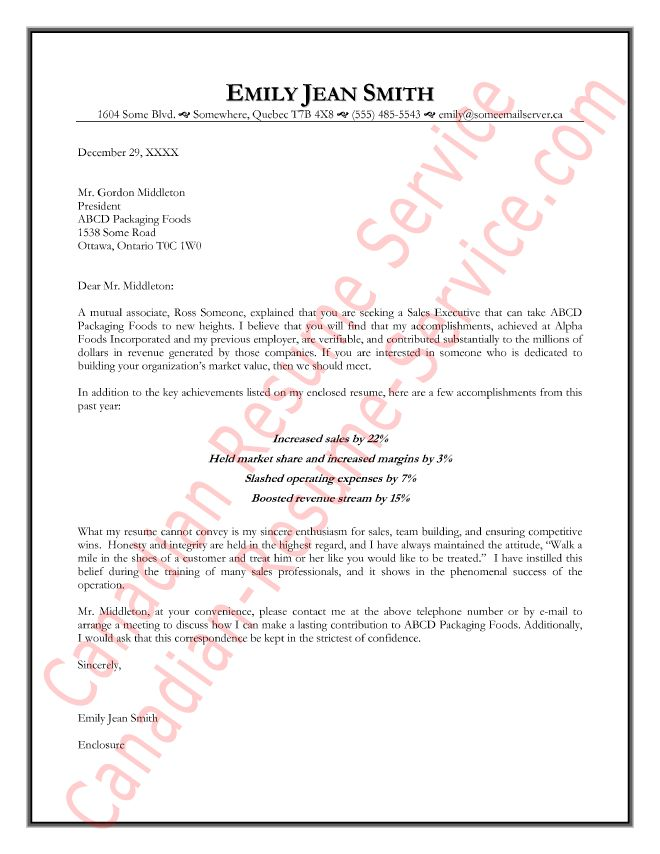 Sales Executive Cover Letter Example - Management Sample