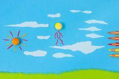 Barns lek: Gå på moln Arkivfoton