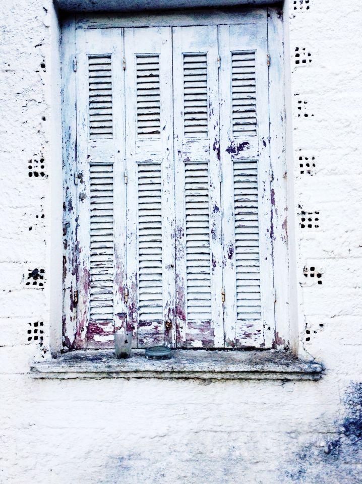 White distressed vintage greek shutters, Zakynthos