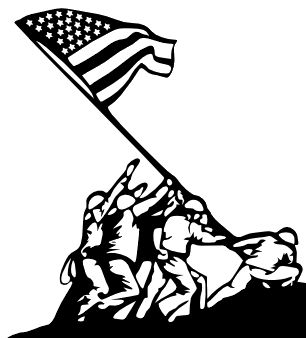 Iwo Jima Flag Raising Silhouette | ... the flag raising on Iwo Jima would be great, so here you go