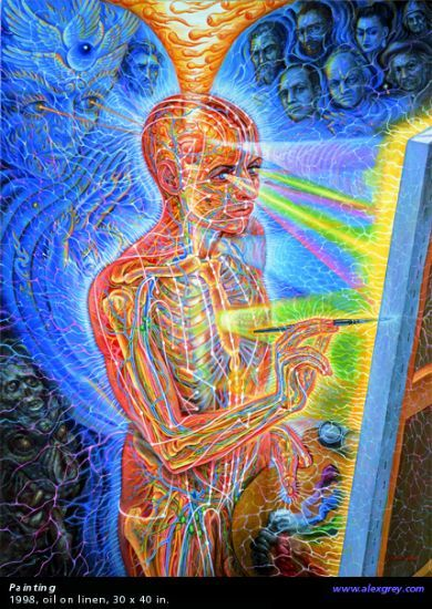 Alex Grey. I love this. Anyone who has a passion for art uses it to dive into another dimension. You don't need psychedelics to understand it.