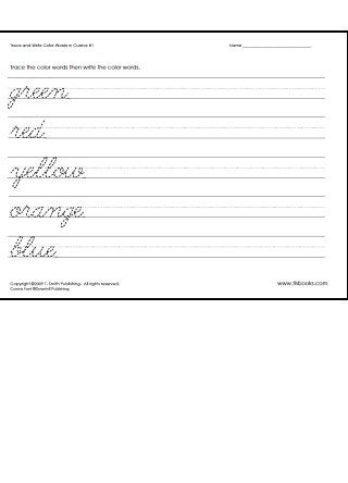 Snapshot image of one page from Trace and Write Color Words in Cursive