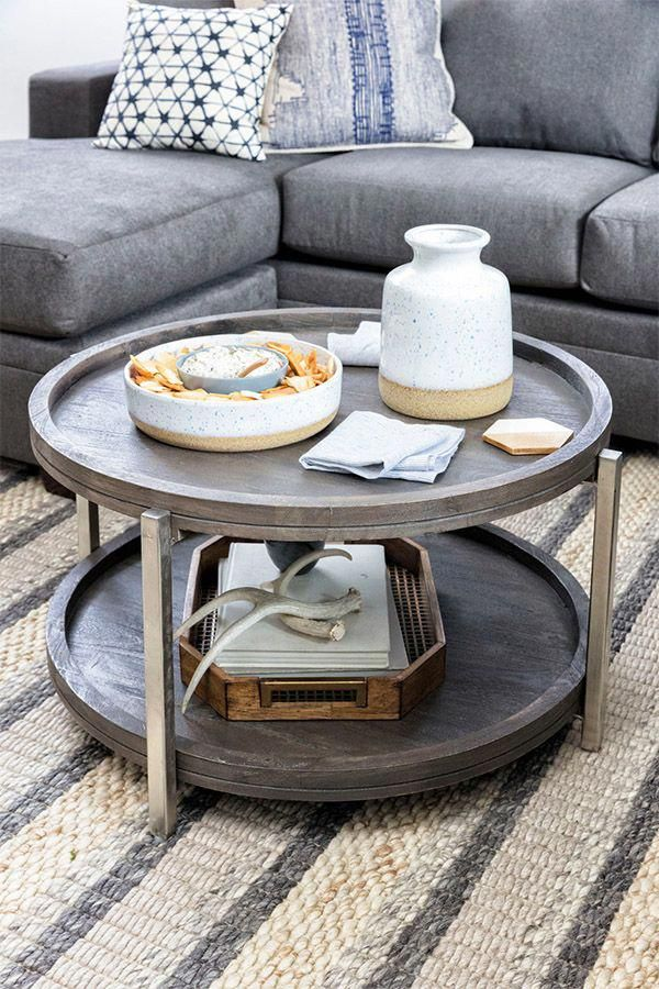 The Swell Coffee Table Features Sleek Nickel Finished Iron Legs And Oil Finished Acaci Coffee Table For Small Living Room Coffee Table Coffee Table Small Space Coffee table for small living room