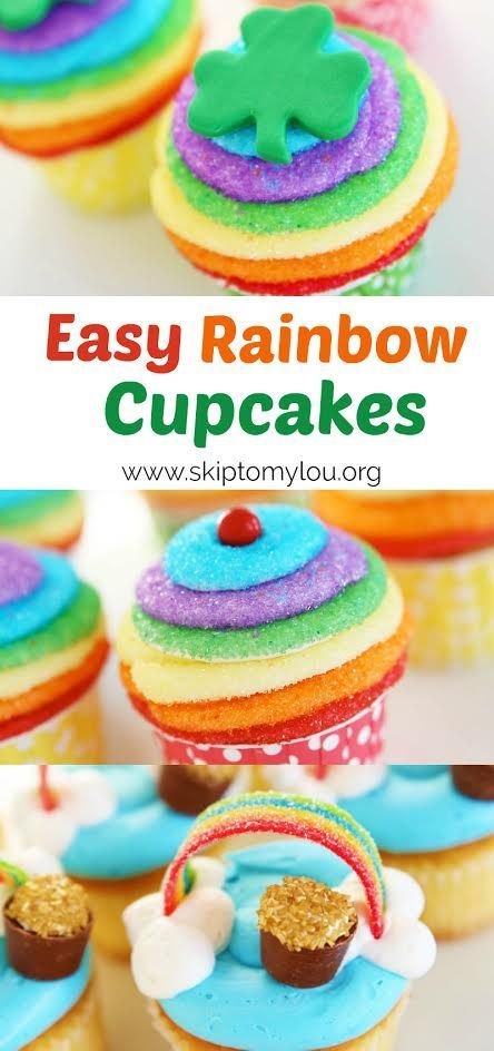 How to make rainbow cupcakes! An easy step by step recipe perfect for St. Patrick's Day, a party, or kid's activity. #cupcakes #rainbow #recipes