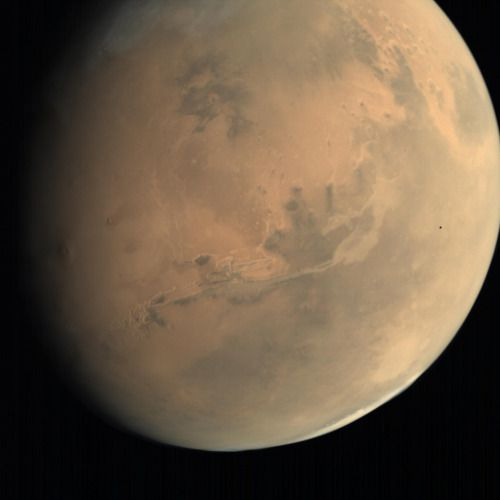 Tiny moon Phobos crosses the face of Mars- India's Mars Orbiter Mission