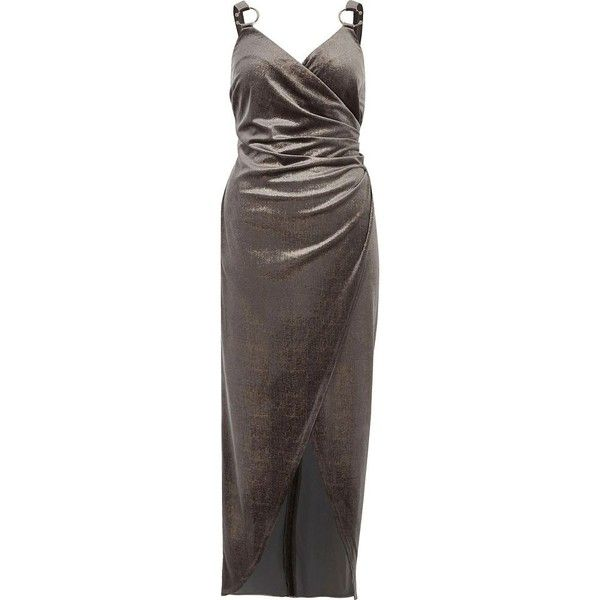 River Island Silver velvet ruched wrap dress (£48) ❤ liked on Polyvore featuring dresses, ruched bodycon dress, silver dress, silver cocktail dress, bodycon dress and brown bodycon dress