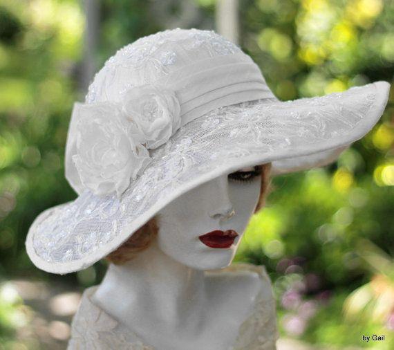 Bridal Hat, Wide Brim Summer Hat, Formal Hat, Garden Party Hat, Tea Party Hat,Race Hat, Lace Hat, Downton Abbey Hat,Special Occasion Hat – Hats
