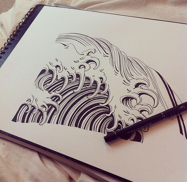 japanese waves tattoos   Tumblr