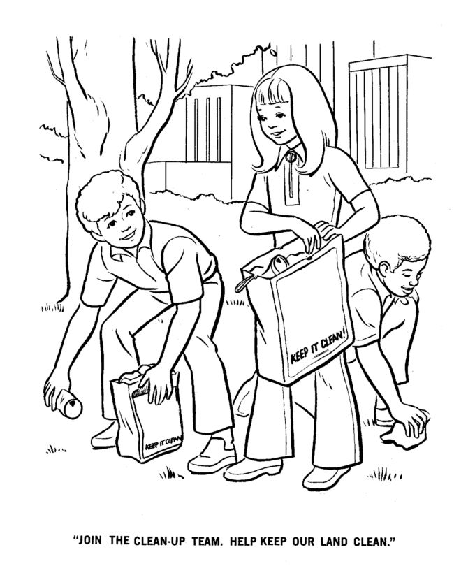 Earth Day Coloring Pages Clean Up Team Conservation Recycling Environment Page Sheets