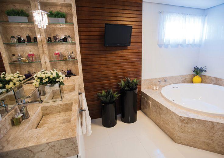 +1000 ideias sobre Porcelanato Banheiro no Pinterest  Acabamento Para Banhei -> Banheiro Com Banheira E Televisao