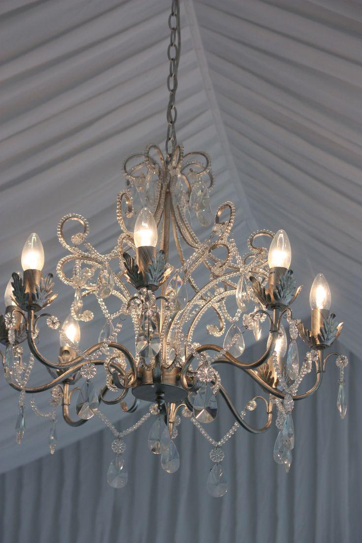 8 arm chandelier, silk lining, south coast weddings, south coast party hire
