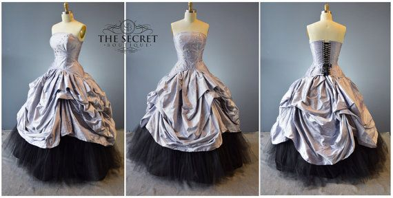 alternative bridal-fantasy wedding gown-wedding gown-plus size-custom made-silk-steampunk-couture-gothic wedding-purpl-the secret boutique