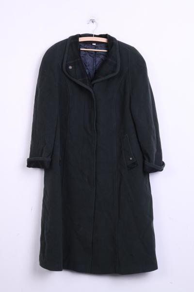 Kohler&Krenzer Womens 20 3XL Long Coat Dark Green Wool Nylon Vintage - RetrospectClothes