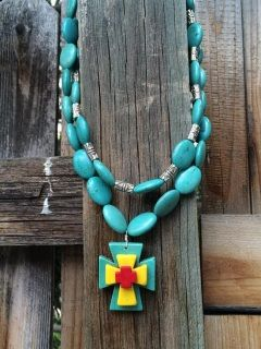 Turqouise Magnesite and Pewter Beads3D Layered Magnesite Cross Pendant #bootsandbows #unique #oneofakind #handcrafted #bling #turquoise #cowgirlbling #cowgirljewelry #turquoisejewelry #cowgirl #countrygirlstyle #countrygirl #rodeo #rodeobling #necklace #jewelry #cross #fashion #fashionaccessories #accessories #style #shop