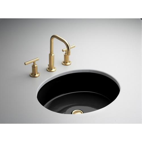 KOHLER Verticyl Black Black Undermount Oval Bathroom Sink with Overfl ...