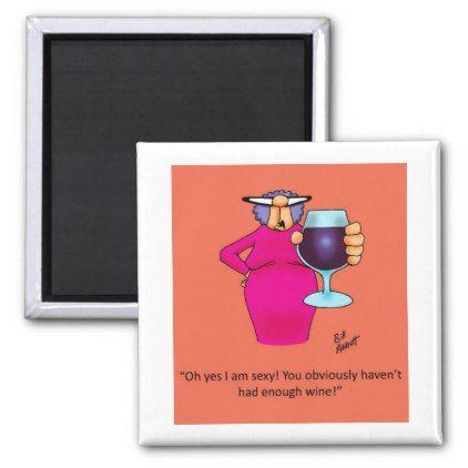 Funny Romantic Wine Cartoon Magnet - humor funny fun humour humorous gift idea