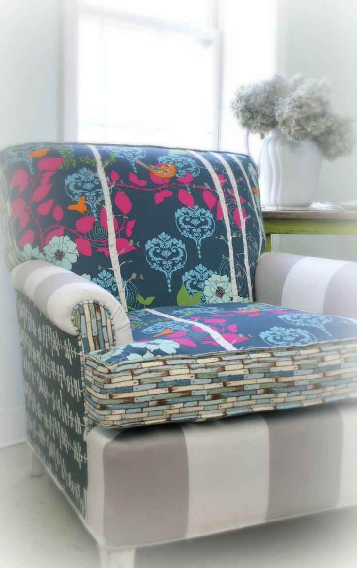 reupholstered bright funky chair