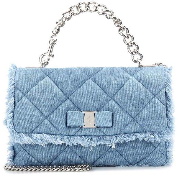Salvatore Ferragamo Gelly Quilted Denim Shoulder Bag ($1,185) ❤ liked on Polyvore featuring bags, handbags, shoulder bags, denim, blue, blue shoulder bag, denim purse, handbags shoulder bags, man bag and quilted purses
