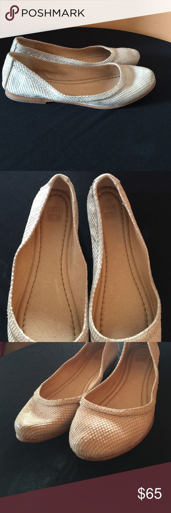Frye Carson ballet flats Lizard leather print cream color BEAUTIFUL LIKE NEW Frye Shoes Flats & Loafers