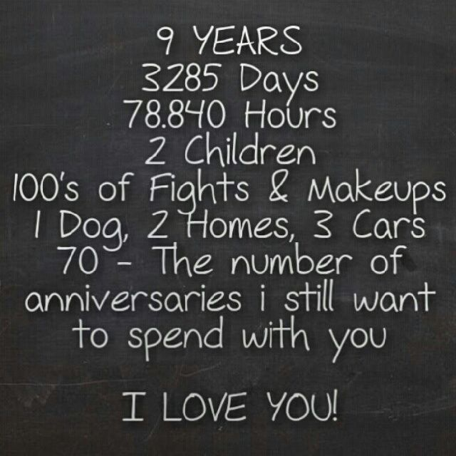*9* Years... {{3285 Days, 78,840 Hours, *3* More Children, 100's of Fights and Makeups, 3 Dogs, 100's of cows, 2 Homes, 5 cars, .... 100--the number of anniversaries I still want to spen withyou...  I LOVE YOU♥}}