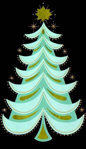 #Christmas #tree mid century greeting card